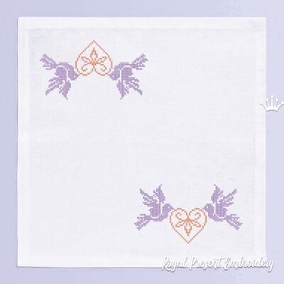 Голуби с Сердечком Дизайн машинной вышивки крестом - 2 размера