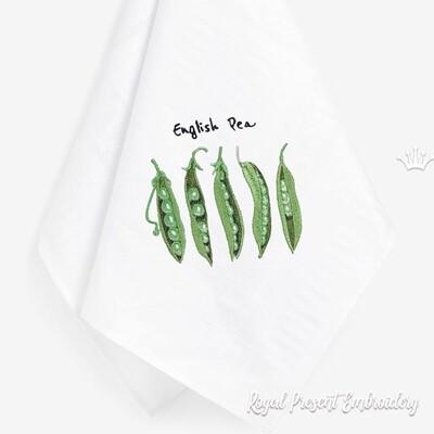 Зеленый горошек Дизайн машинной вышивки - 4 размера