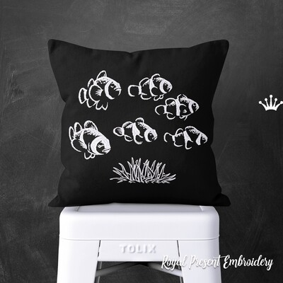 Рыбки Клоуны Дизайны машинной вышивки - 2 размера