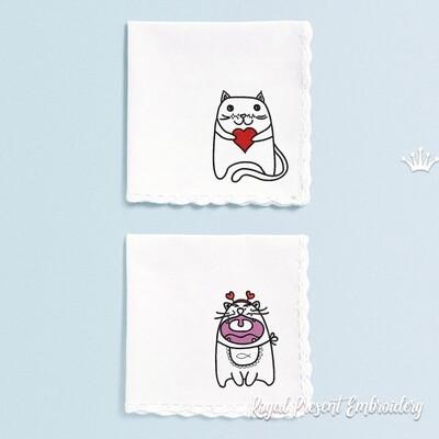 Коты Валентинки Два Дизайна машинной вышивки