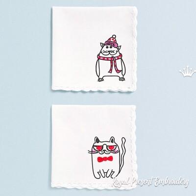 Коты Валентинки Дизайны машинной вышивки