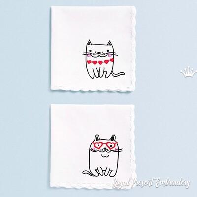 Коты с сердечками Дизайны машинной вышивки