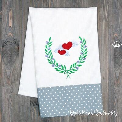 Венок и Сердечки с крылышками Дизайны машинной вышивки - 2 размера