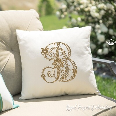 Заглавная буква B Дизайн машинной вышивки крестом