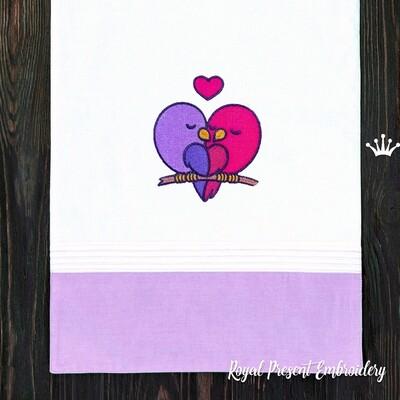 Птички Сердце Дизайн машинной вышивки - 2 размера