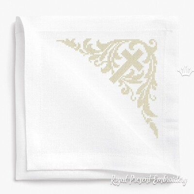 Крест с орнаментом угол Дизайн машинной вышивки крестом - 3 размера
