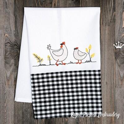 Две Курицы Дизайн машинной вышивки - 2 размера