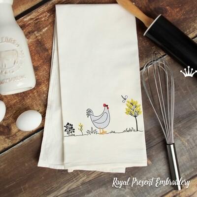 Курица и стрекоза Дизайн машинной вышивки - 2 размера