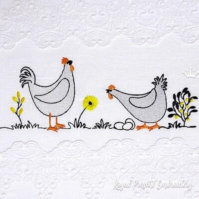 Петух и Курица с яйцами Дизайны машинной вышивки - 2 размера