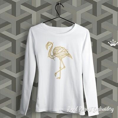 Графический Фламинго Дизайн машинной вышивки - 5 размеров