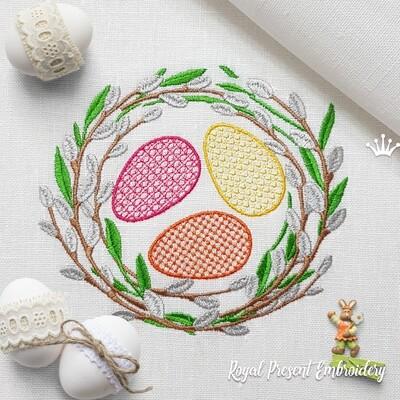 Верба пасхальный венок с яйцами Дизайн машинной вышивки - 5 размеров