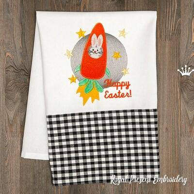 Пасхальный Кролик в ракете Дизайн машинной вышивки - 3 размера