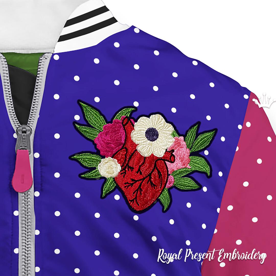 Дизайн машинной вышивки Цветущее Сердце - 3 размера