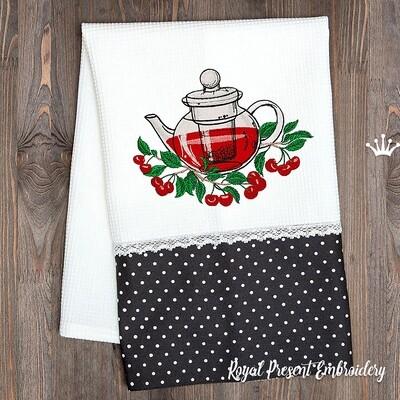 Чайник с Вишнями Дизайн машинной вышивки - 4 размера
