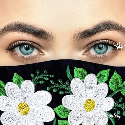 Модная защитная маска для лица с ромашками Бесплатный Дизайн машинной вышивки