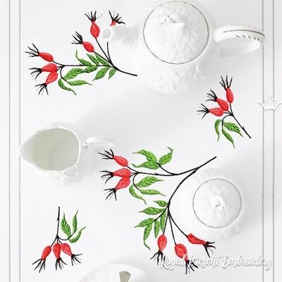 Набор ягоды шиповника Дизайны машинной вышивки - 3 размера