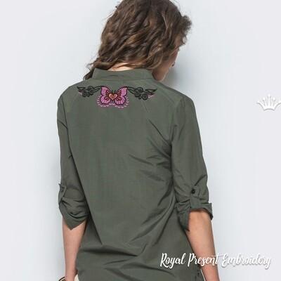 Бабочка в тату стиле Дизайн машинной вышивки - 4 размера