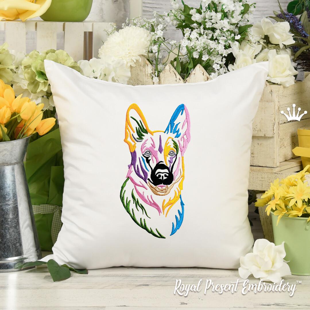Разноцветная Овчарка Портрет Дизайн машинной вышивки - 7 размеров