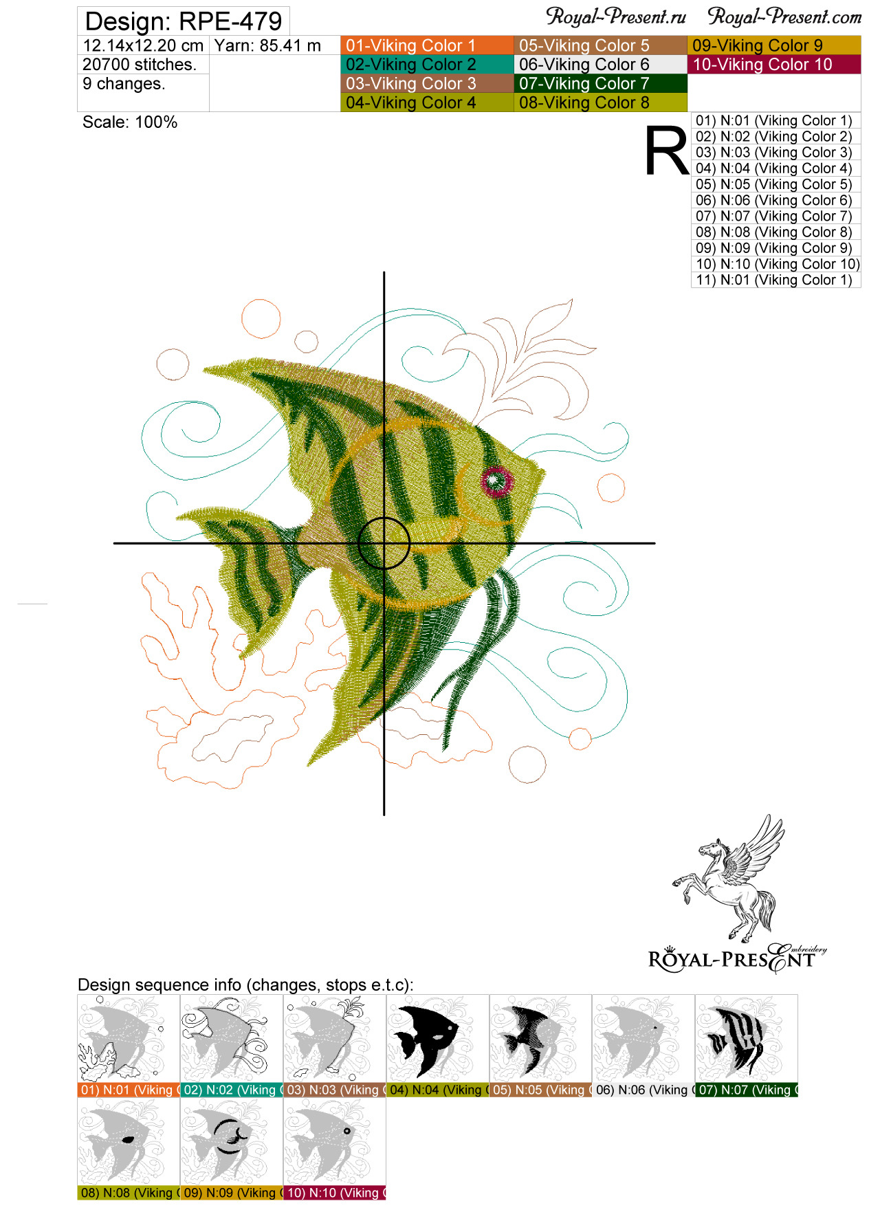 Дизайн для машинной вышивки бесплатно Морская рыбка