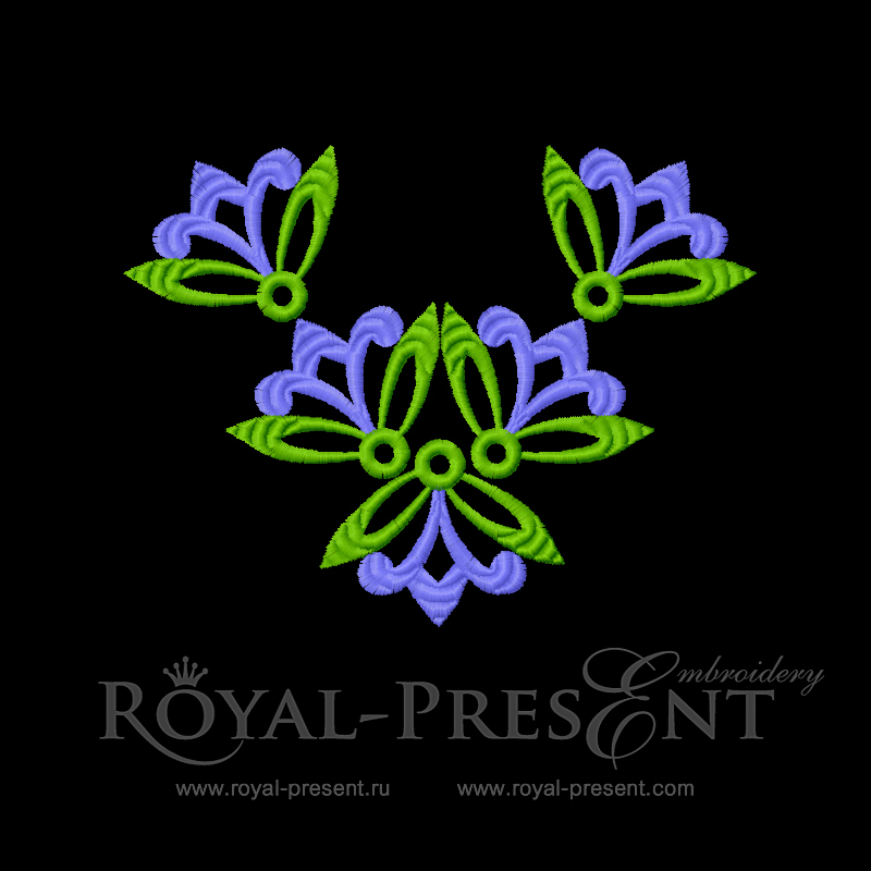 Дизайн для машинной вышивки  Горловина с абстрактными цветами