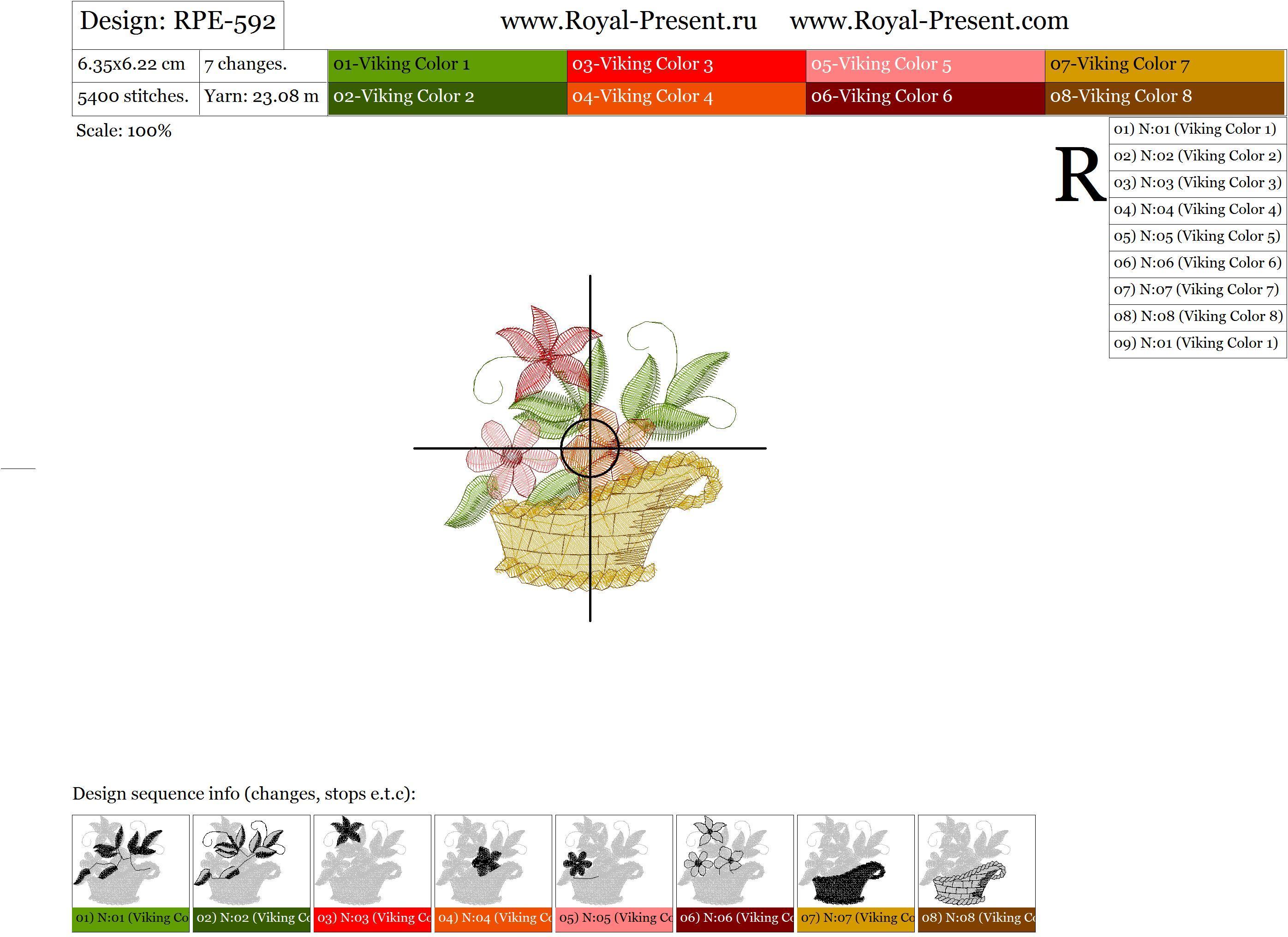 Дизайн для машинной вышивки бесплатно - Цветочная корзинка