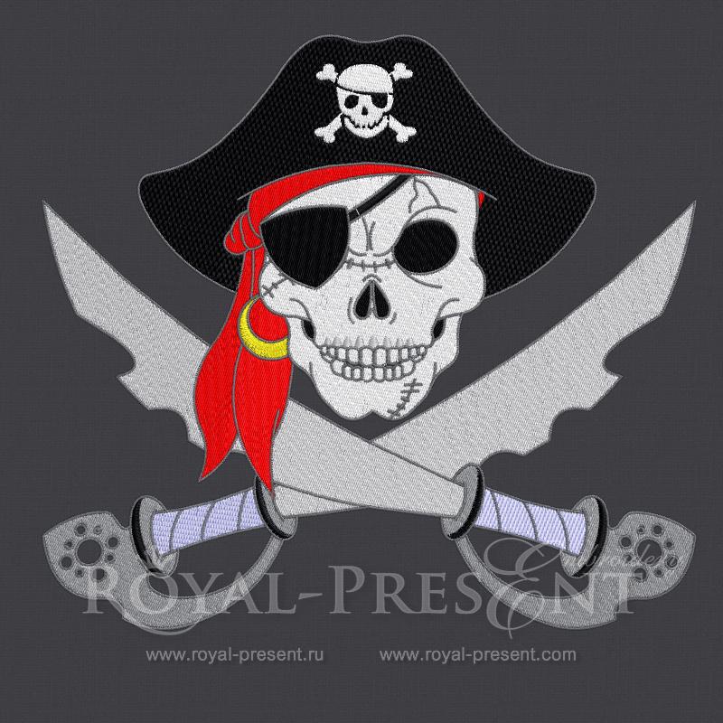 Дизайн для машинной вышивки - Пиратский череп RPE-390