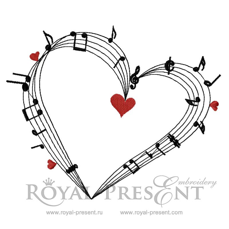 Дизайн машинной вышивки Сердце нотный стан RPE-734