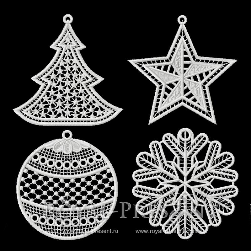 Набор Новогодних кружевных дизайнов машинной вышивки RPE-820-part-1