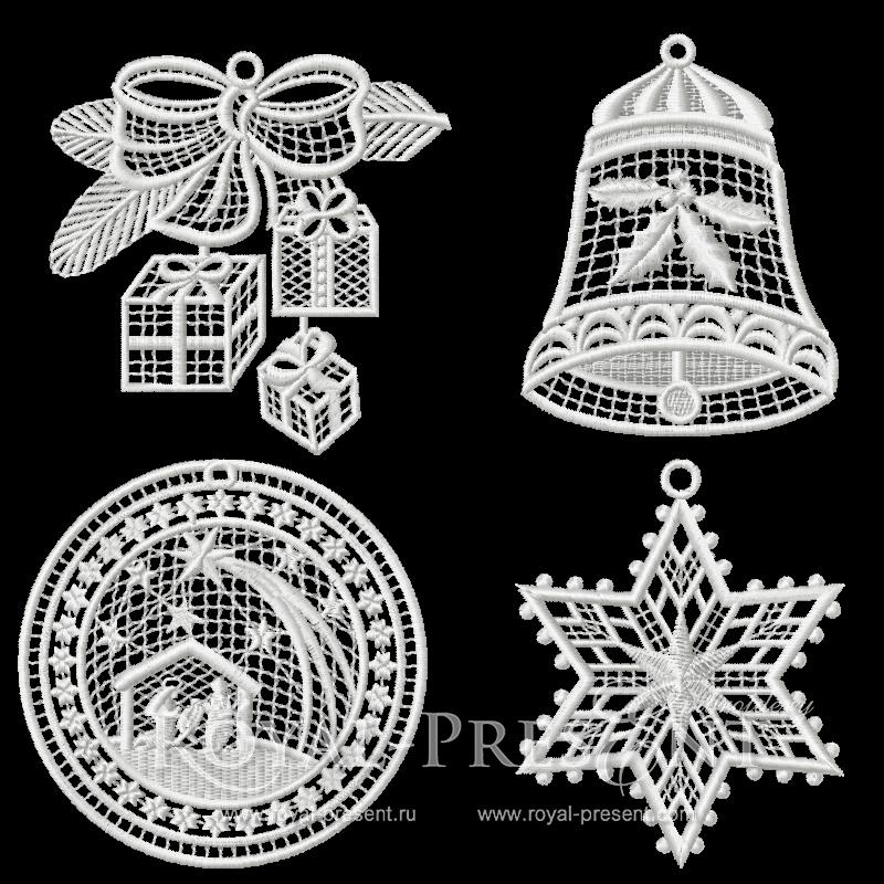 Набор кружевных дизайнов новогодней машинной вышивки Кружевная история #2 RPE-820-part-2