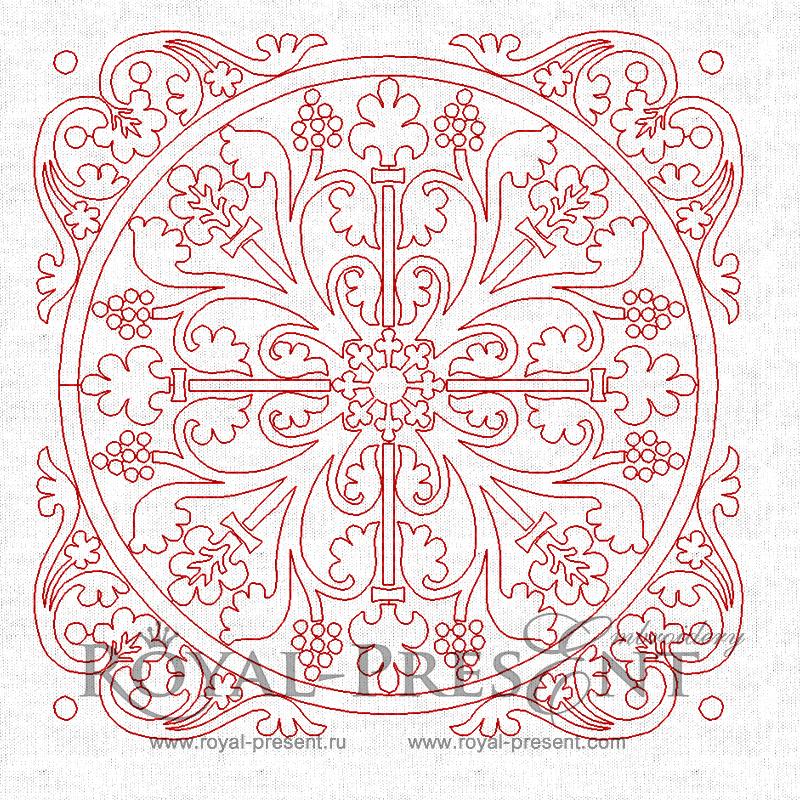 Дизайн машинной вышивки для квилта - Резной орнамент #2 (3 в 1) RPE-304