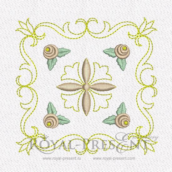 Дизайн машинной вышивки - Геометрический орнамент для квилта #2 RPE-463-02