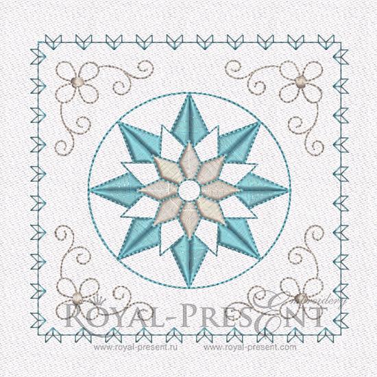 Дизайн машинной вышивки - Геометрический орнамент для квилта RPE-461