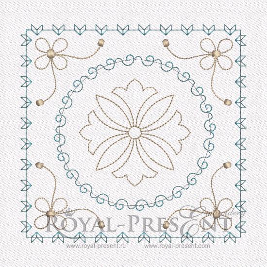 Дизайн машинной вышивки - Геометрический орнамент для квилта #9 RPE-460