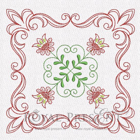 Дизайн машинной вышивки для квилта - Цветочный мотив #2 RPE-840-01