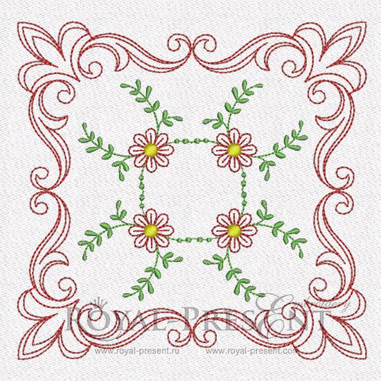 Дизайн машинной вышивки для квилта - Цветочный мотив #3 RPE-840-02