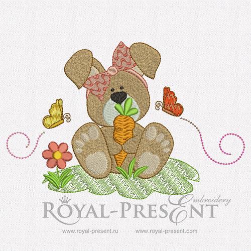 Дизайн машинной вышивки Кролик и бабочки