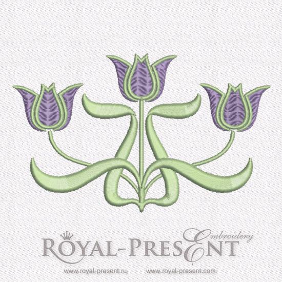 Дизайн машинной вышивки бесплатно Тюльпаны Ар Нуво RPE-352-05-free
