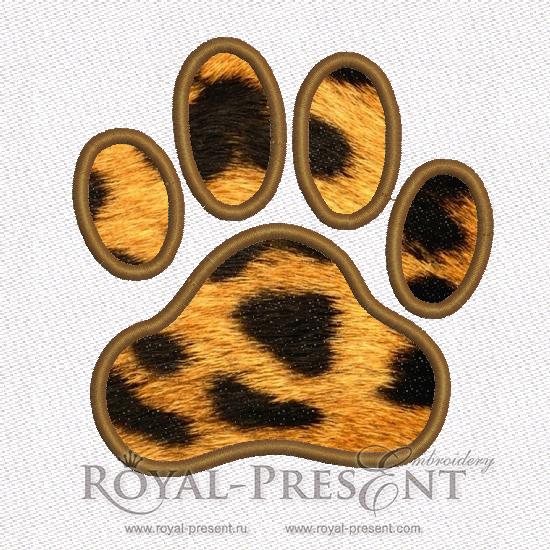Дизайн машинной вышивки бесплатно Аппликация лапа животного