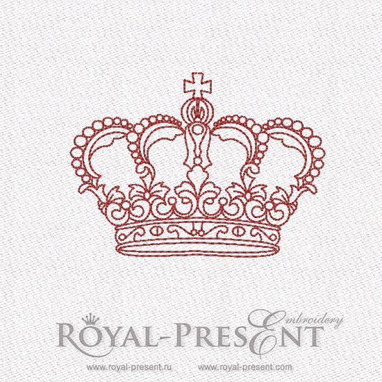 Дизайн машинной вышивки в стиле REDWORK - Корона #4 RDL-007-04