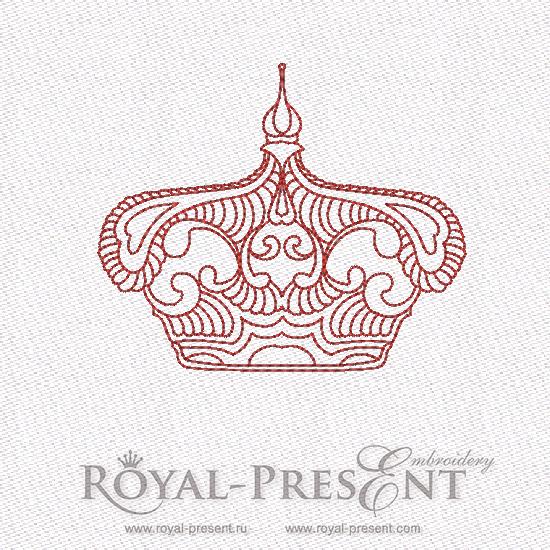 Дизайн машинной вышивки в стиле REDWORK - Корона #5 RDL-007-05