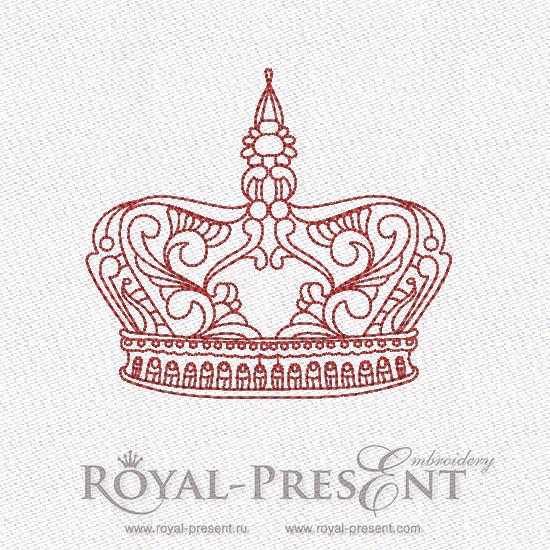 Дизайн машинной вышивки в стиле REDWORK - Корона #6 RDL-007-06