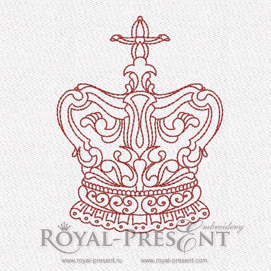Дизайн машинной вышивки в стиле REDWORK - Корона #7 RDL-007-07