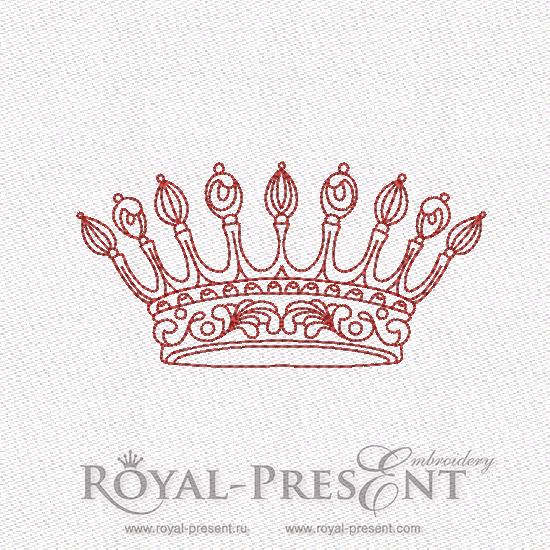 Дизайн машинной вышивки в стиле REDWORK - Корона #8 RDL-007-08