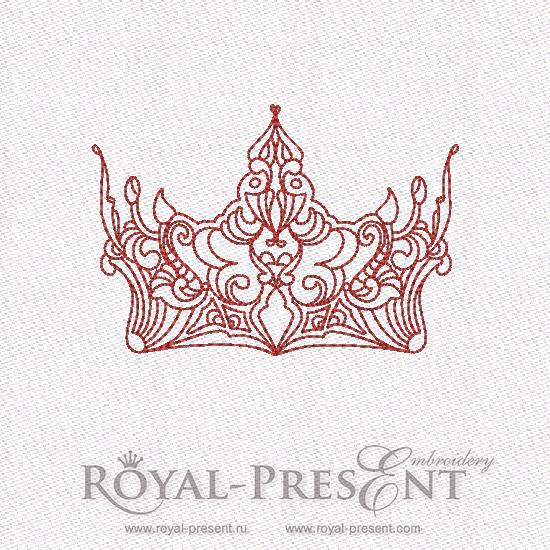 Дизайн машинной вышивки в стиле REDWORK - Корона #9 RDL-007-09