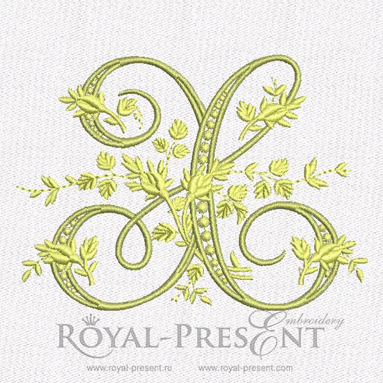 Дизайн машинной вышивки - Монограмма винтажная буква X