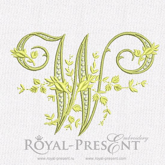 Дизайн машинной вышивки - Монограмма винтажная буква W