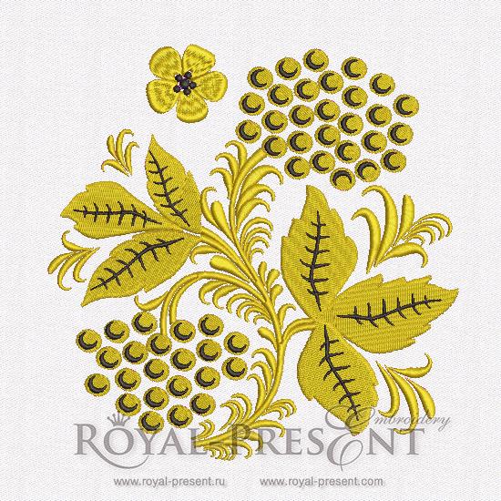 Дизайн машинной вышивки Рябина   Хохлома