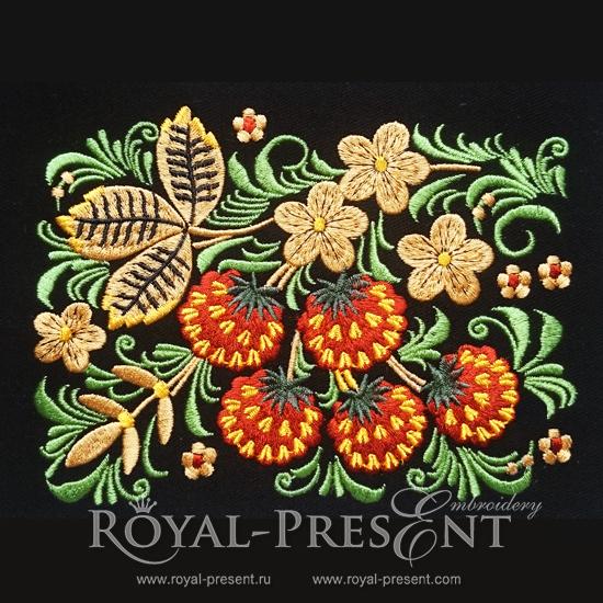 Дизайн машинной вышивки Орнамент в стиле хохлома Клубника