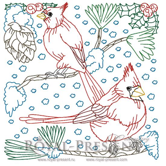 Снегири Дизайн машинной вышивки