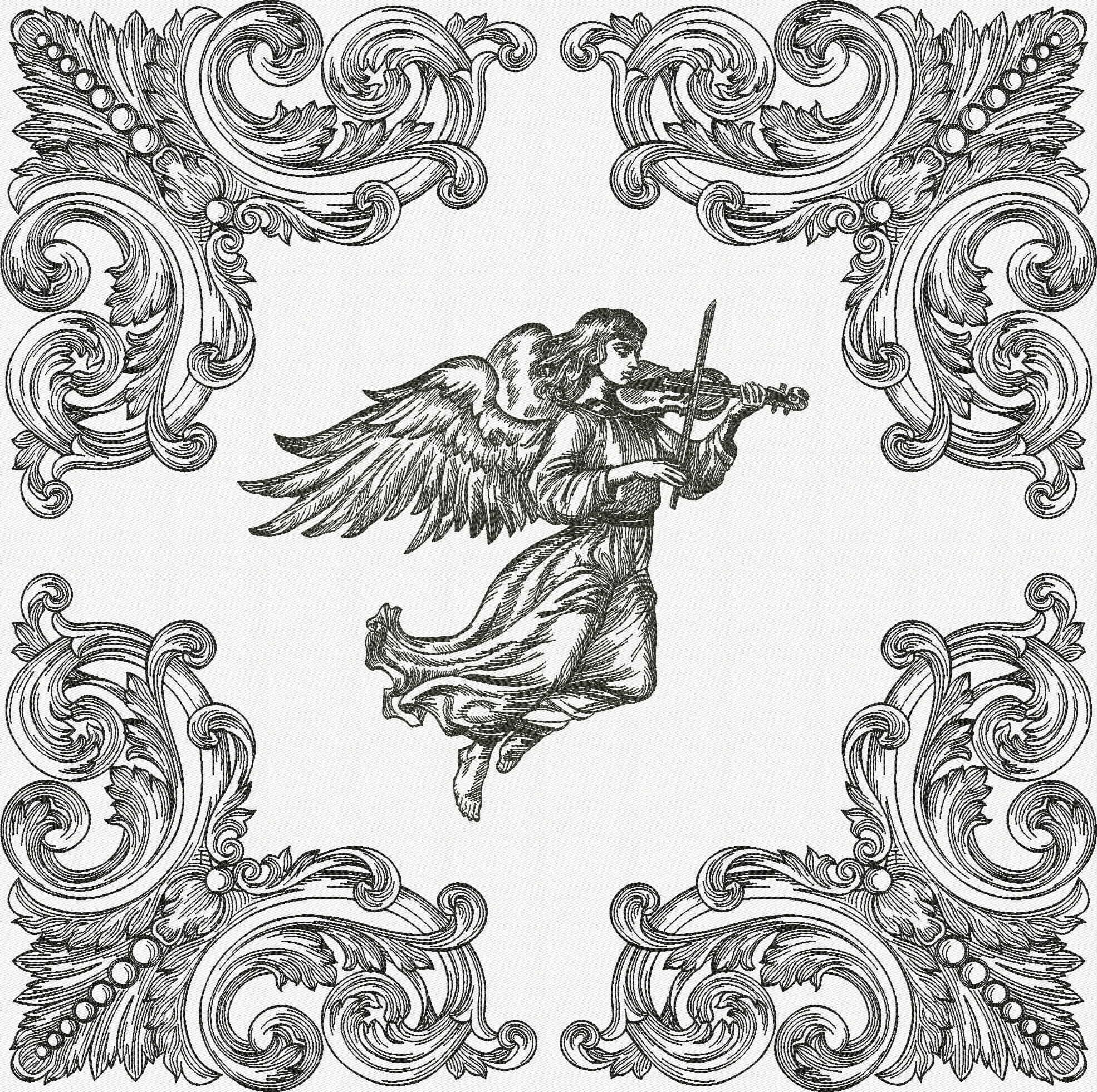 Дизайн машинной вышивки Ангел со скрипкой